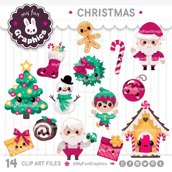 Cute Christmas Clip Art.Christmas Kawaii Clip Art Christmas Cute Clipart