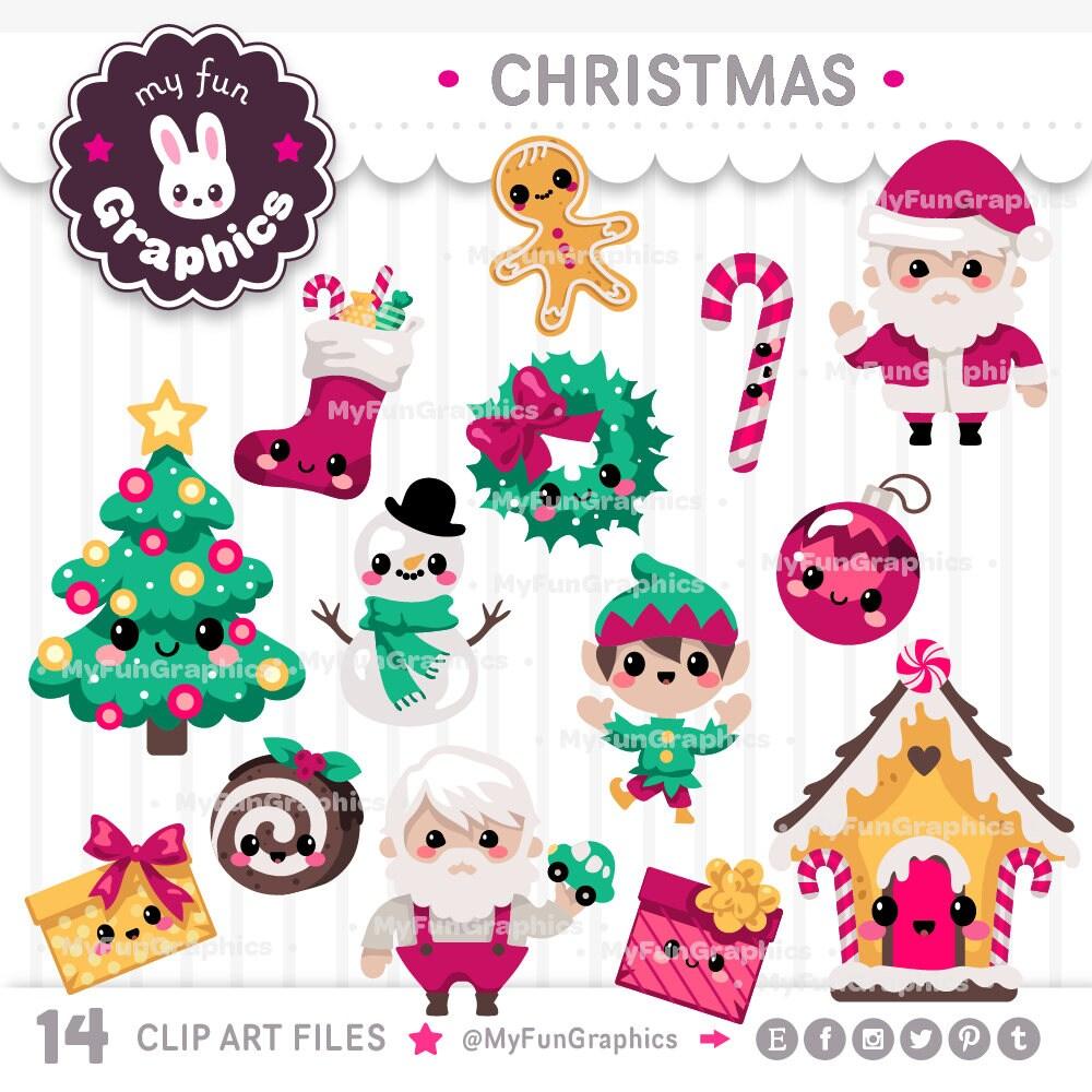Christmas Kawaii Clip Art / Christmas Cute Clipart   Etsy