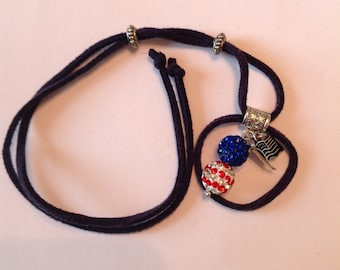 Handcrafted patriotic Bauble with USA Flag and Suede Beard Wrap by Beard Art Baubles
