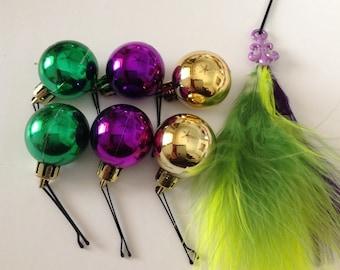 Beard Art Baubles Mardi Gras laissez les bon temps rouler Set 7 Tri Color Feathers Fleur De Lys