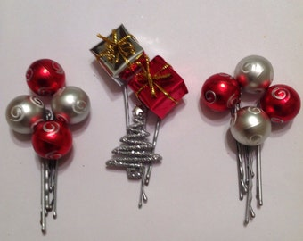 Beard Art Baubles  Christmas Hipster Set 10 White Mini Pins Perfect for Light or Grey Beards