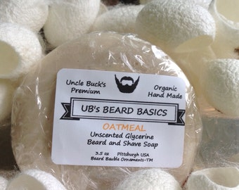 Oatmeal Unscented Glycerine Beard and Shave Soap with One Dozen Mulberry Silk Cocoons UB's Beard Basics 3.5 oz.