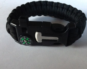 Tactical Survival Paracord Handwoven Bracelet Black Wristband With Whistle, Flint Firestarter, and Compass Buckle