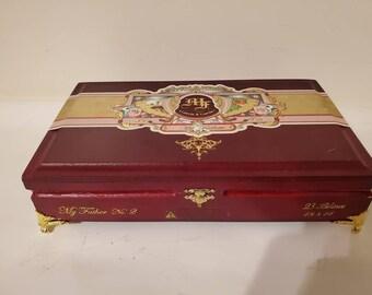 Cigar Box Jewelry Box Humidor Trinket Box Humidor Men's Gift Box My Father Garcia & Garcia #2 Red Wood Lacquered Cigar Box