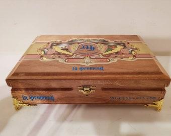 Cigar Box Jewelry Box/ Humidor Trinket Box/ Humidor Mens Gift Box/ My Father La Promesa Lacquered Wood Cigar Box