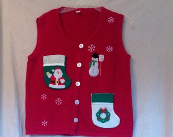 Ugly Christmas Sweater Party Vest Ladies Medium Handmade Shot Glass Flask Liquor Bottle Pockets