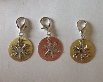 Beard Art Baubles Snowflake Ornament Zipper Pull Choice of Back Plate