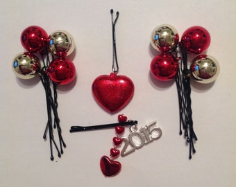 Beard Art Baubles Hearts On a String Valentine's Day 2015 Celebration Bling Hipster Gift set of 10