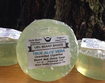 Beard Soap Shave Soap True Aloe Vera Unscented Glycerine UB's Beard Basics 3.5 oz.