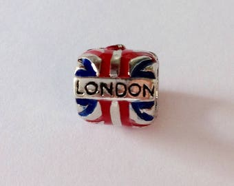 Beard Bead Dread Bead Red Blue Enameled Silver Bead London UK