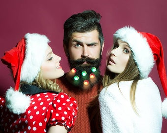 Beard Lights Beard Fairy Lights BeardNaments 6 Lights Red Green Beard Basics Beard Bauble Ornaments