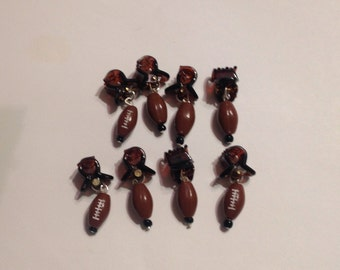 SportNaments Football Beard Ornaments Beard Art Baubles Set of 8 Beard Bauble Ornaments