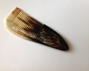 Organic Oxhorn Comb Fine Tooth X6F Beard Comb Hair Comb Unique Pattern By Beard Basics