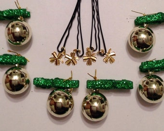 Beard Art Baubles St Patrick's Day Shamrock Hipster set SHAM 10 Green Glitter Clip