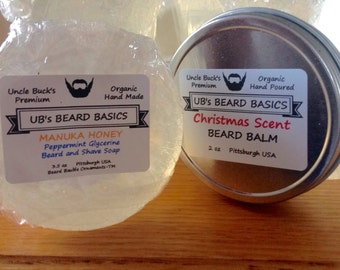 Peppermint Beard Soap and Christmas Scent Beard Balm Set  for Your Christmas Beard This Beard Season Decembeard Gift UB's Beard Basics