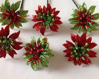 Beard Art Baubles Flower Christmas Beard for Beard Season Set of 6 Beard Ornaments Baubles Beard