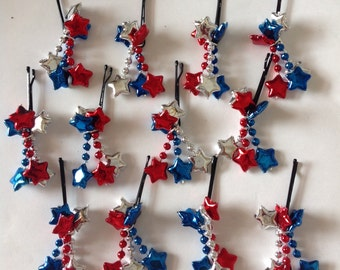 SALE Beard Art Baubles Collection of Holiday and Special Occassion Beard Ornaments and Beard Bling Fourth of July Patriotic Shooting Stars