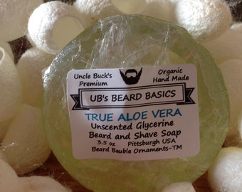 True Aloe Vera Unscented Glycerine Beard and Shave Soap with One Dozen Mulberry Silk Cocoons UB's Beard Basics 3.5 oz.