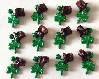 Beard Art Baubles St Patrick's Day Shamrock Beard Ornaments 12 High Gloss Handmade Baubles Ultra Mini Pins or Mini Clips  MADE IN USA