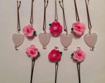 Beard Art Baubles Valentine's Day Hipster Gift Set of 10 Roses and Hearts