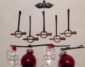 Beard Art Baubles Valentine's Day Deluxe Glass Baubles Cupids Bronze Heart and Arrows Hipster Gift Set of 10