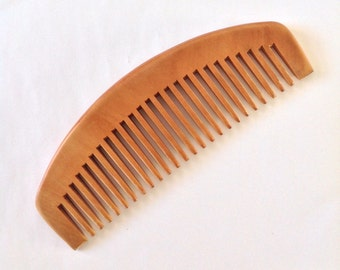 Organic Natural Peach Wood Wide Tooth Beard Comb UB's Beard Basics Anti Static Massage