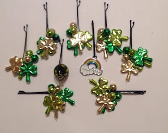 Beard Art Baubles St Patrick's Day Shamrock Hipster Gift Set 9 High Gloss Handmade Baubles with Ultra Mini Pins