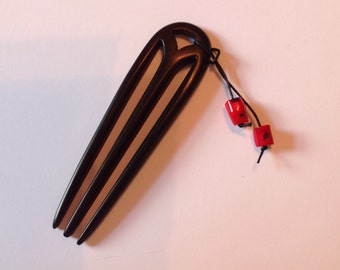 Ebony Wood Hair Stick Hair Pin Hair Fork Hand Carved With Removeable Red Bamboo Coral Dangle