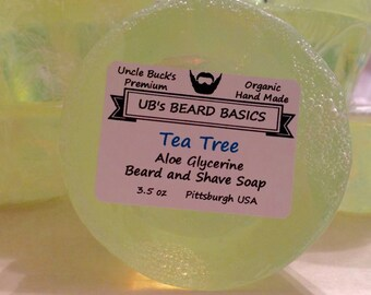 Tea Tree Aloe Vera and Glycerine Beard and Shave Soap UB's Beard Basics 3.5 oz. Organic Vegan