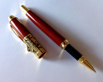 Wood Ink Pen Maple Hand Turned Goldtone Hardware