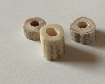 Rustic Deer Antler Celtic Viking Beard Bead Single Choice Dread Bead Organic Natural Deer Antler Beads Large Hole