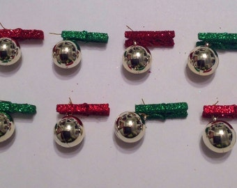 Beard Art Baubles Classic Set of 8 Glitter Clips Short Beards Christmas Baubles For the Beard