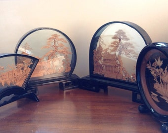 Diorama Cork Art Shadowbox Designs set of 4 China Antique Collection Pristine