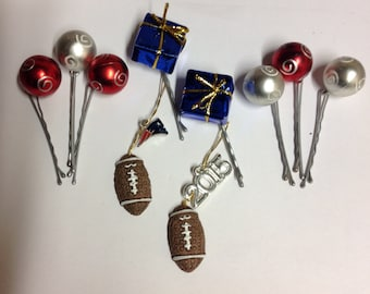 SportNaments Football Beard Bauble Ornaments Beard Art Baubles Football New England Patriots Red White And Blue