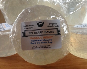 Peppermint Beard & Shave Soap with Manuka Honey and Glycerine UB's Beard Basics 3.5 oz.