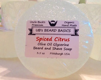 Spiced Citrus Olive Oil and Glycerine Beard and Shave Soap UB's Beard Basics 3.5 oz. Organic Vegan