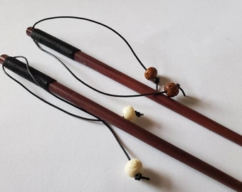 Ebony Wood Hair Stick Tapered Carved Beard Basics USA  Hair Pin with handcarved bone bead dangles choice of one color dangle One stick