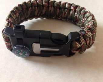 Tactical Survival Paracord Handwoven Bracelet Camo Wristband With Whistle, Flint Firestarter, and Compass Buckle