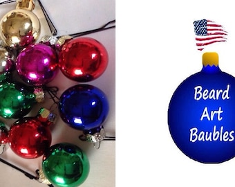SALE Beard Bauble Ornaments Random Assorted Beard Art Baubles for the Beard Baubles for the Beard  Set of 10