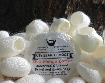Mango and Shea Butter Unscented Glycerine Beard and Shave Soap with One Dozen Mulberry Silk Cocoons UB's Beard Basics 3.5 oz.