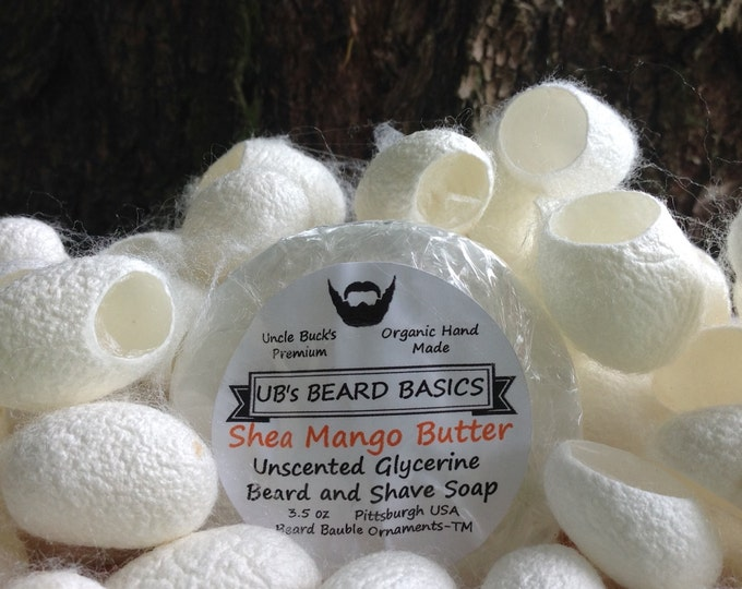 Featured listing image: Mango and Shea Butter Unscented Glycerine Beard and Shave Soap with One Dozen Mulberry Silk Cocoons UB's Beard Basics 3.5 oz.