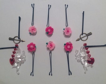 Beard Art Baubles Valentine's Day Hearts Roses Cupids and Arrows Hipster Gift Set of 10