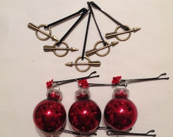 Beard Art Baubles Valentine's Day Deluxe Glass Baubles and Metal Roses and Arrows Hipster Gift set of 12