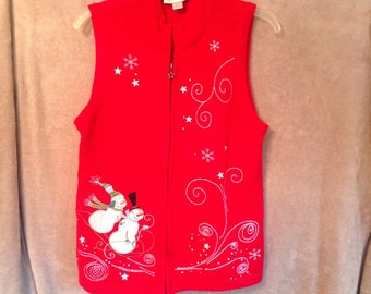 Ugly Christmas Sweater Party Vest Ladies Medium Zippered Handmade a Embroidered Red with White
