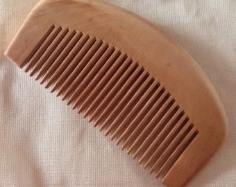 Organic Natural Peachwood Pocket Travel Size Beard Comb UB's Beard Basics Anti Static Massage