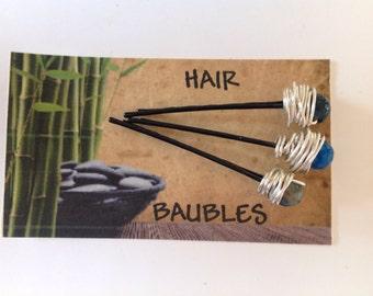 Semi-Precious Gemstone Hair Baubles Blue Agate Faceted Gemstones Silver Wrapped