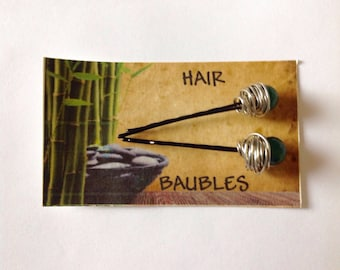 Gemstone Hair Baubles Emerald Faceted Gemstones Silver Wrapped