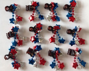 Beard Art Baubles Collection of Holiday and Special Occassion Beard Ornaments and Beard Bling Fourth of July Patriotic Stars and Stripes