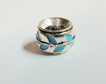 Beard Art Baubles Antiqued Silver and Turquoise Enameled Beard Bead