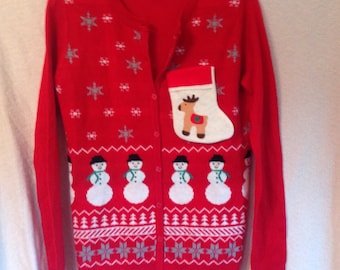 Vintage Ugly Christmas Sweater Party Tacky Sweater Liquor Bottle Flask Pocket  Upcycled Button Cardigan Sweater